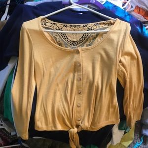 Yellow lace cropped blouse